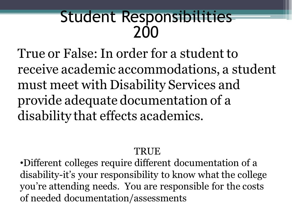 Student Responsibilities 200