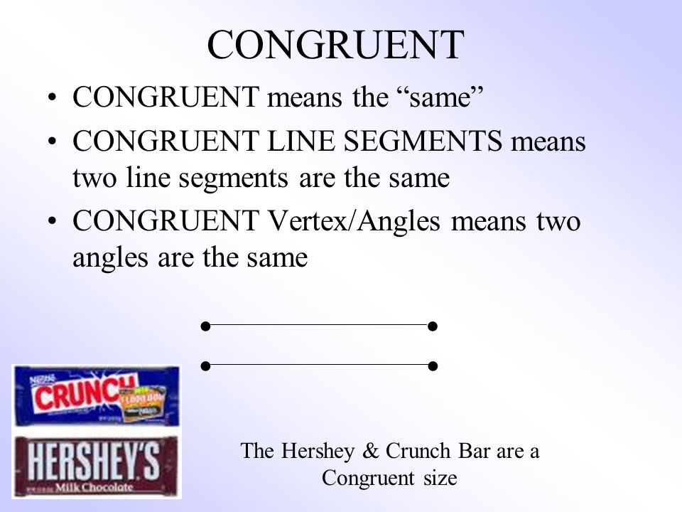 The Hershey & Crunch Bar are a Congruent size