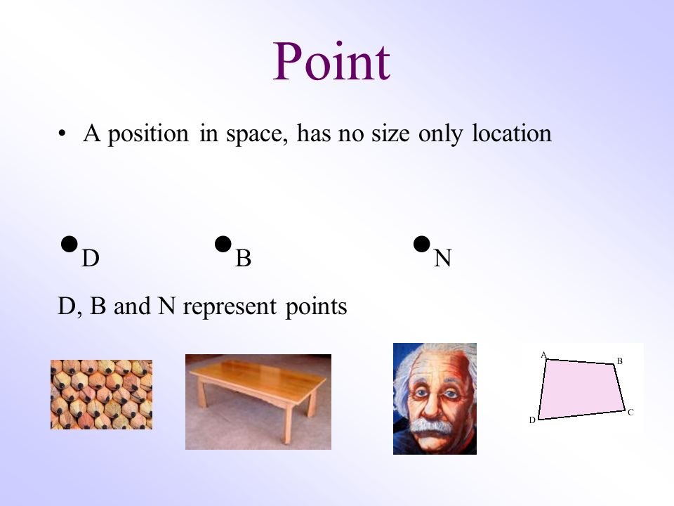 •D •B •N Point A position in space, has no size only location