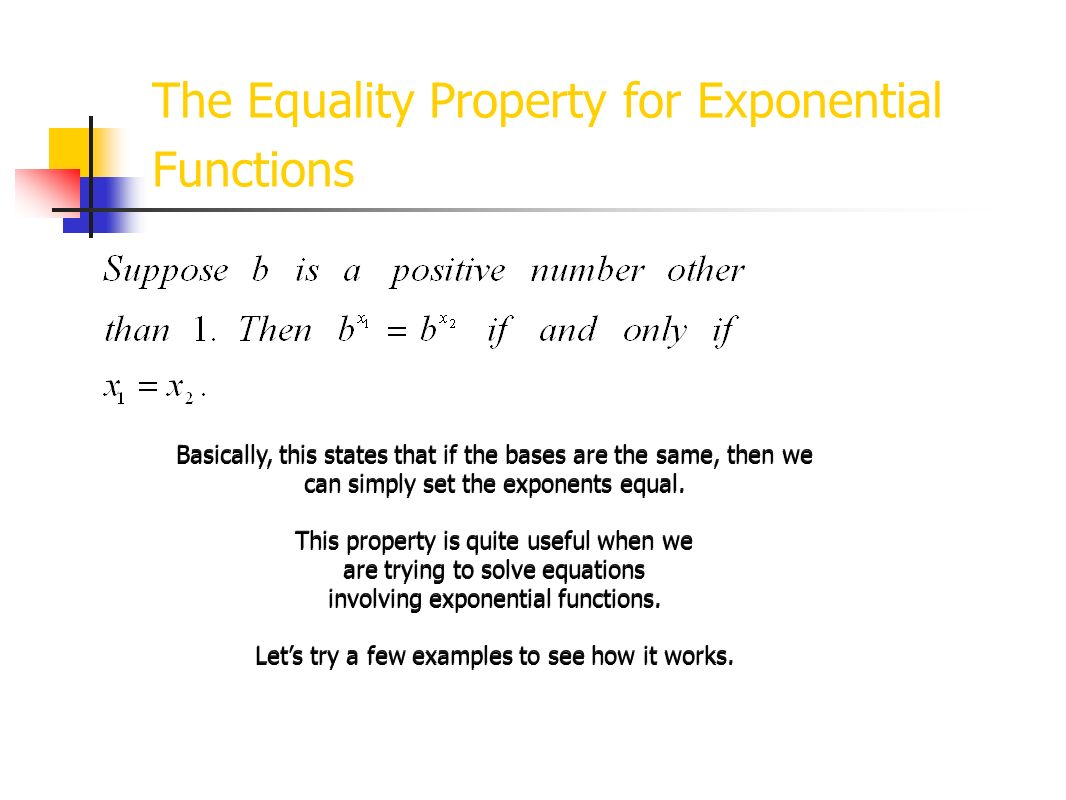 The Equality Property for Exponential Functions
