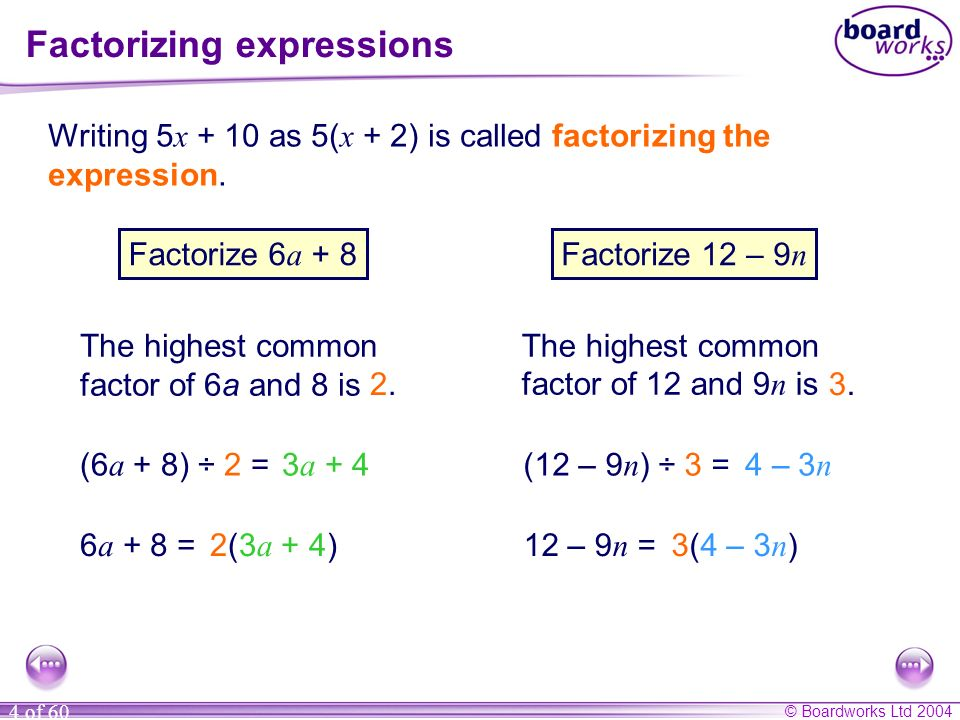 Factorizing expressions