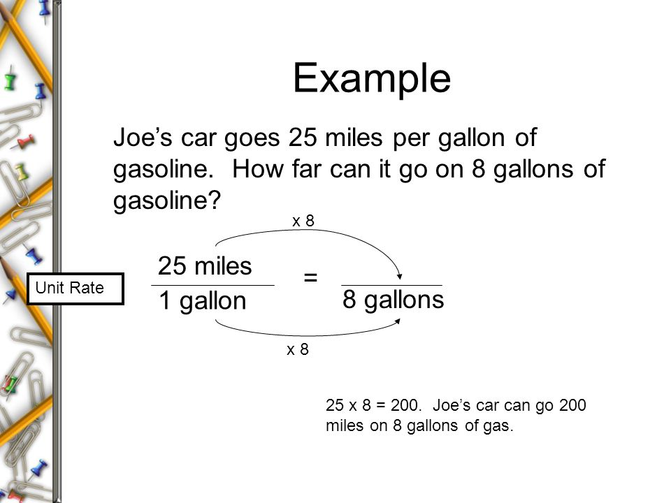 Example Joe's car goes 25 miles per gallon of gasoline. How far can it go on 8 gallons of gasoline