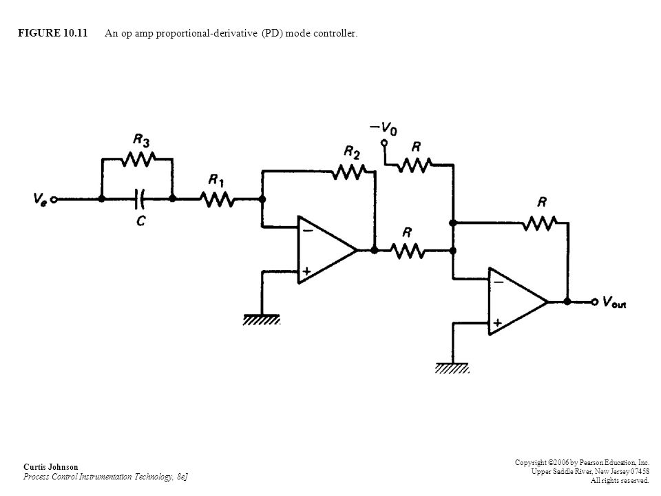 FIGURE An op amp proportional-derivative (PD) mode controller.