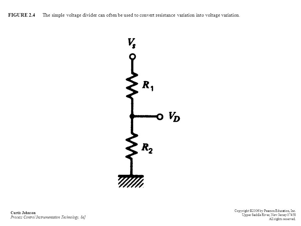 FIGURE 2.4 The simple voltage divider can often be used to convert resistance variation into voltage variation.