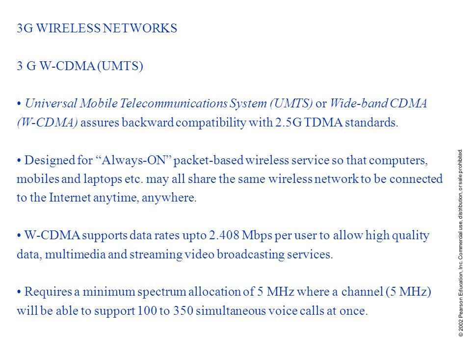 3G WIRELESS NETWORKS 3 G W-CDMA (UMTS)