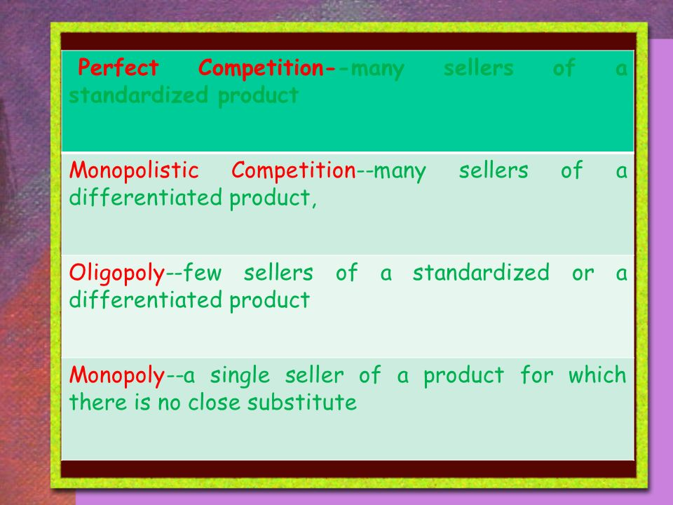 Perfect Competition--many sellers of a standardized product