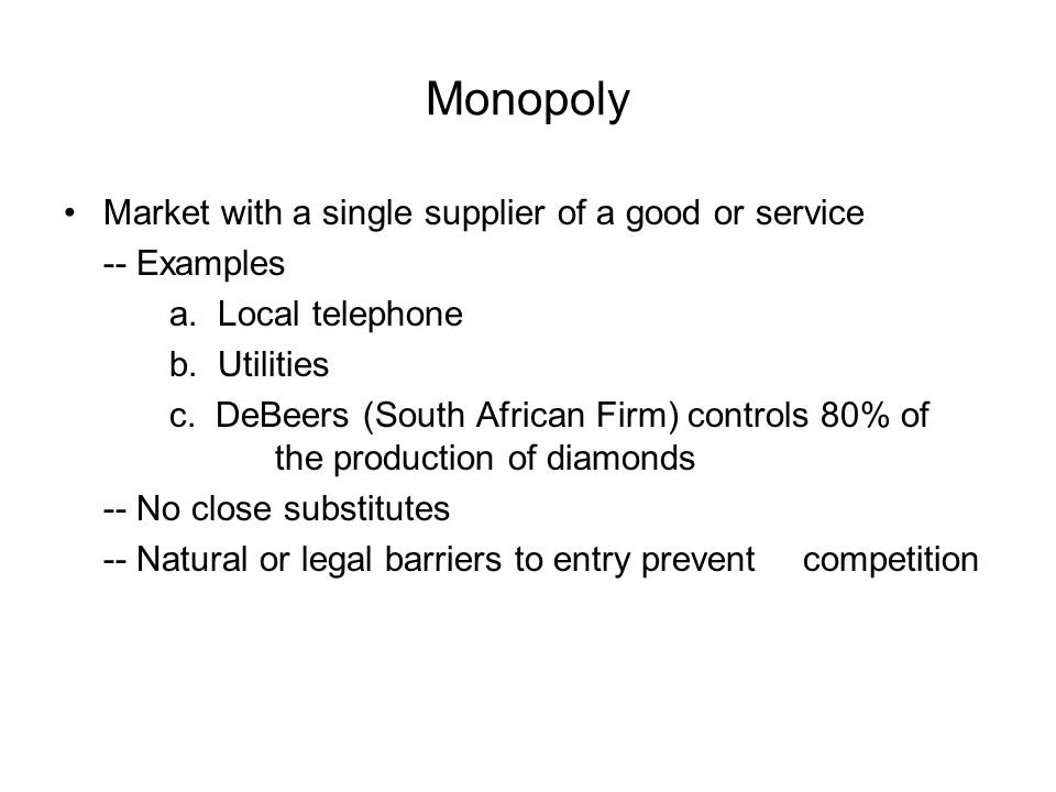 monopoly the only sole supplier of Frequently, i get asked this question: how do you negotiate with single/sole source suppliers the answer to this question requires differentiating between these two types of suppliers and providing a definition for each.