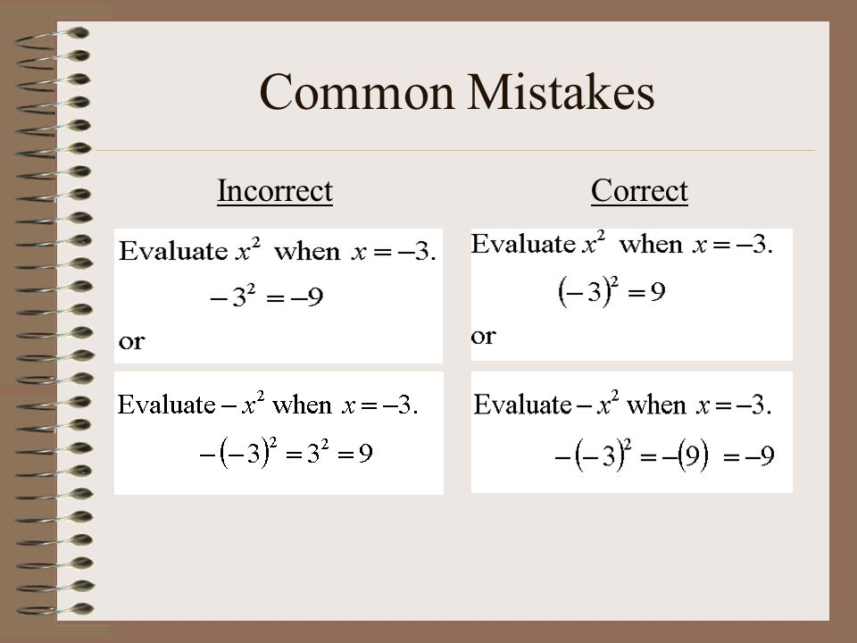 Common Mistakes Incorrect Correct