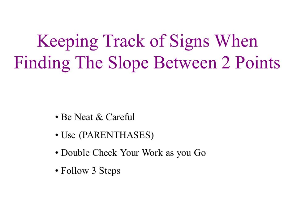 Keeping Track of Signs When Finding The Slope Between 2 Points