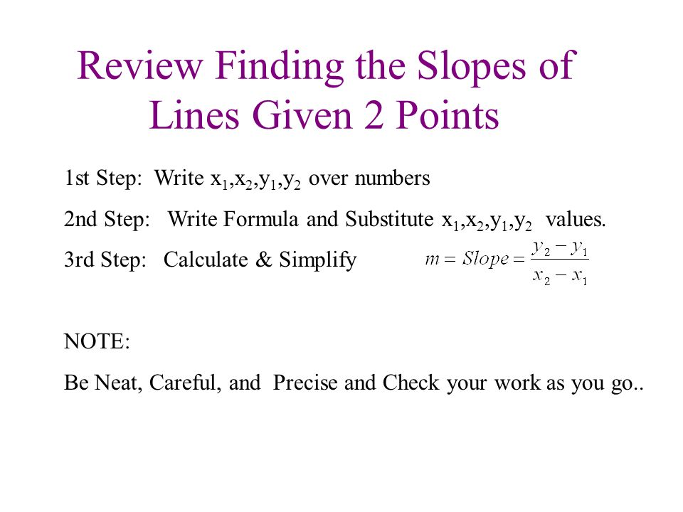 Review Finding the Slopes of Lines Given 2 Points