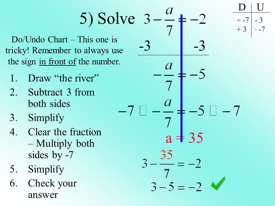 5) Solve -3 -3 a = 35 D U Draw the river Subtract 3 from both sides