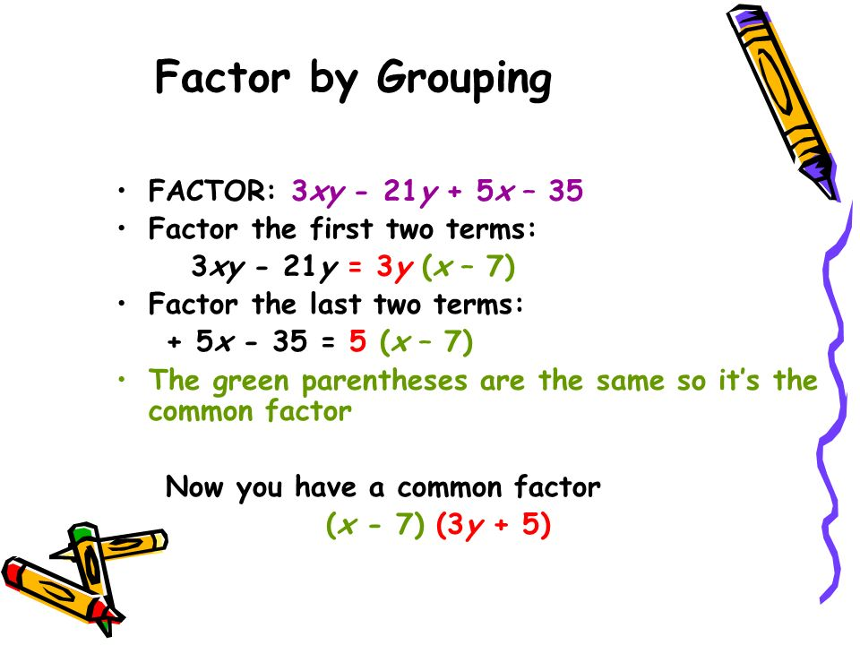 Factor by Grouping FACTOR: 3xy - 21y + 5x – 35