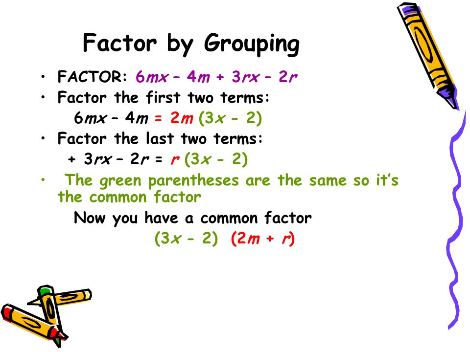 Factor by Grouping FACTOR: 6mx – 4m + 3rx – 2r