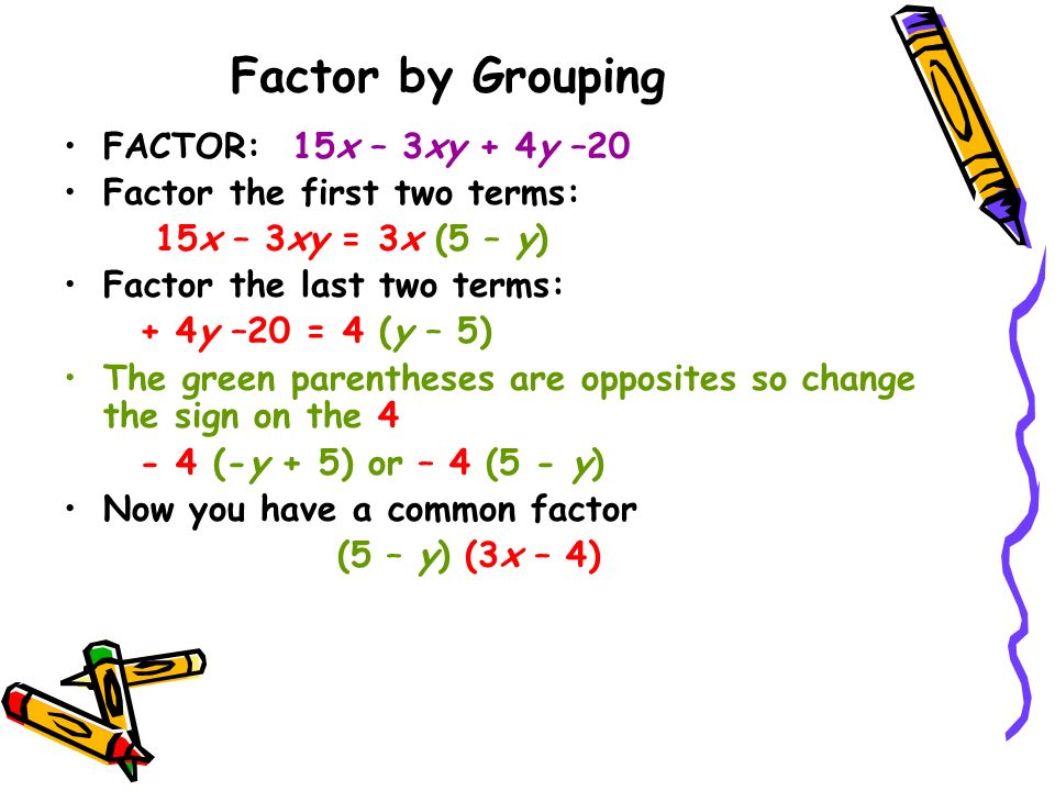 Factor by Grouping FACTOR: 15x – 3xy + 4y –20