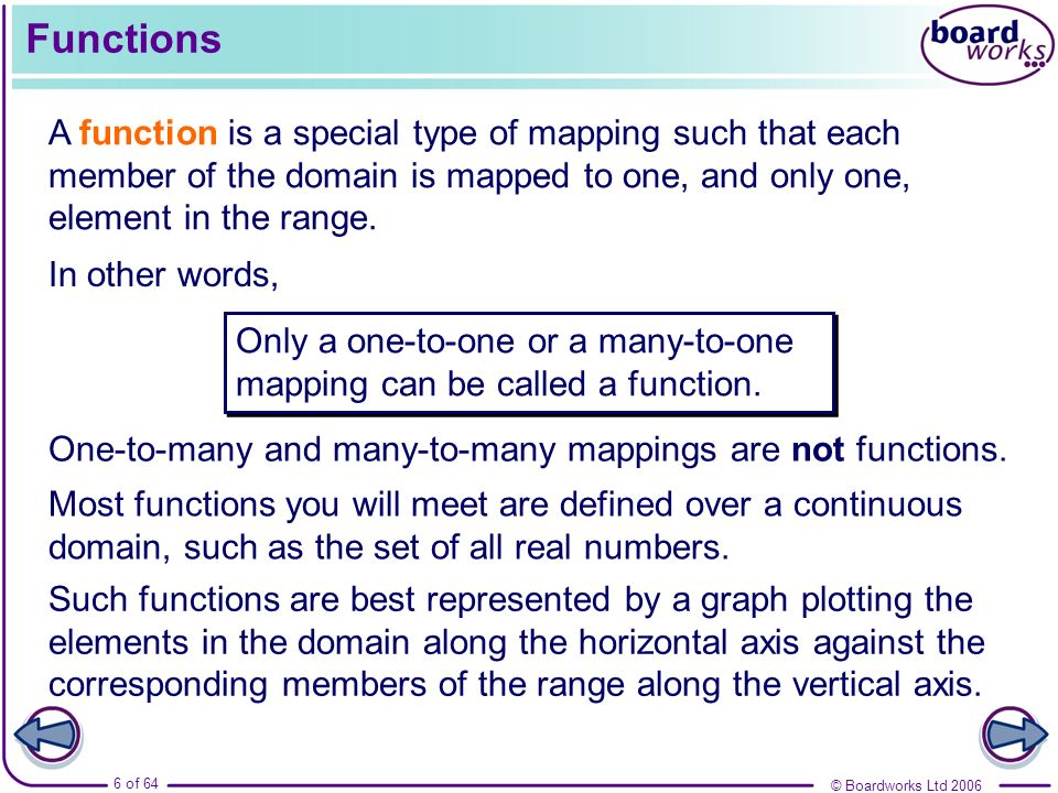 Functions A function is a special type of mapping such that each member of the domain is mapped to one, and only one, element in the range.