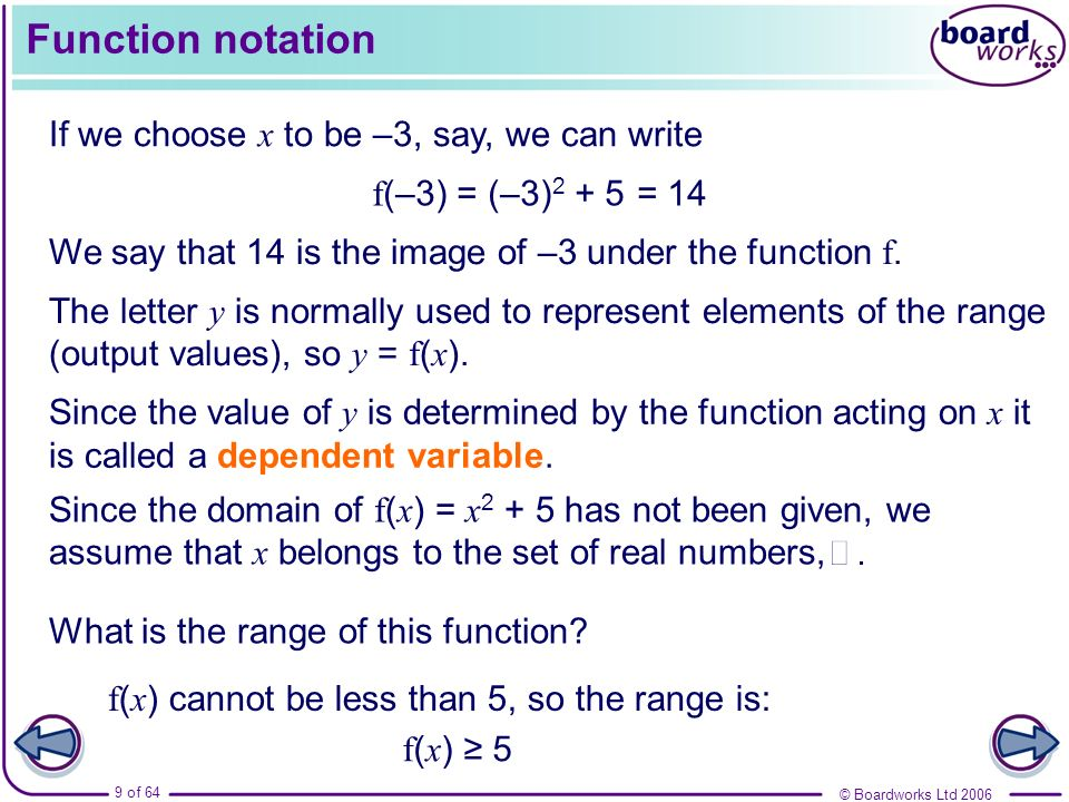 Function notation If we choose x to be –3, say, we can write