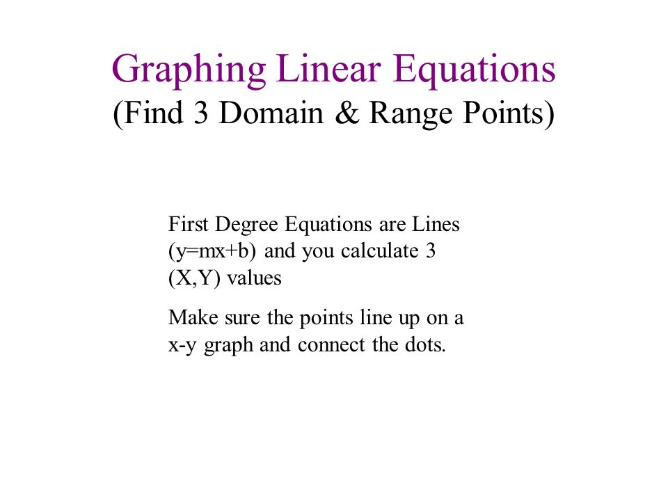 Graphing Linear Equations (Find 3 Domain & Range Points)