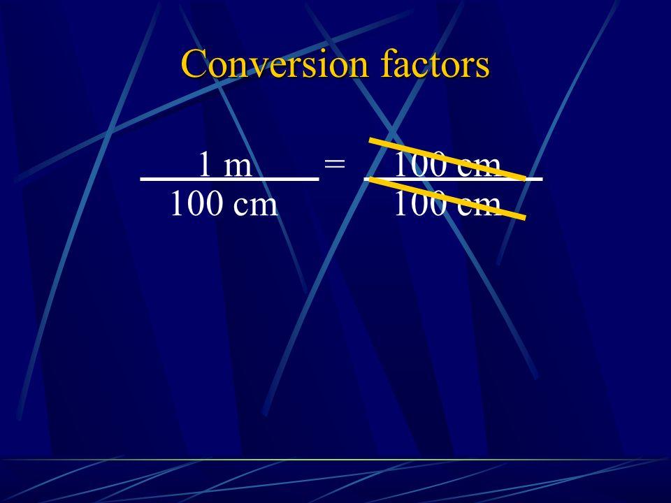Conversion factors 100 cm 1 m = 100 cm