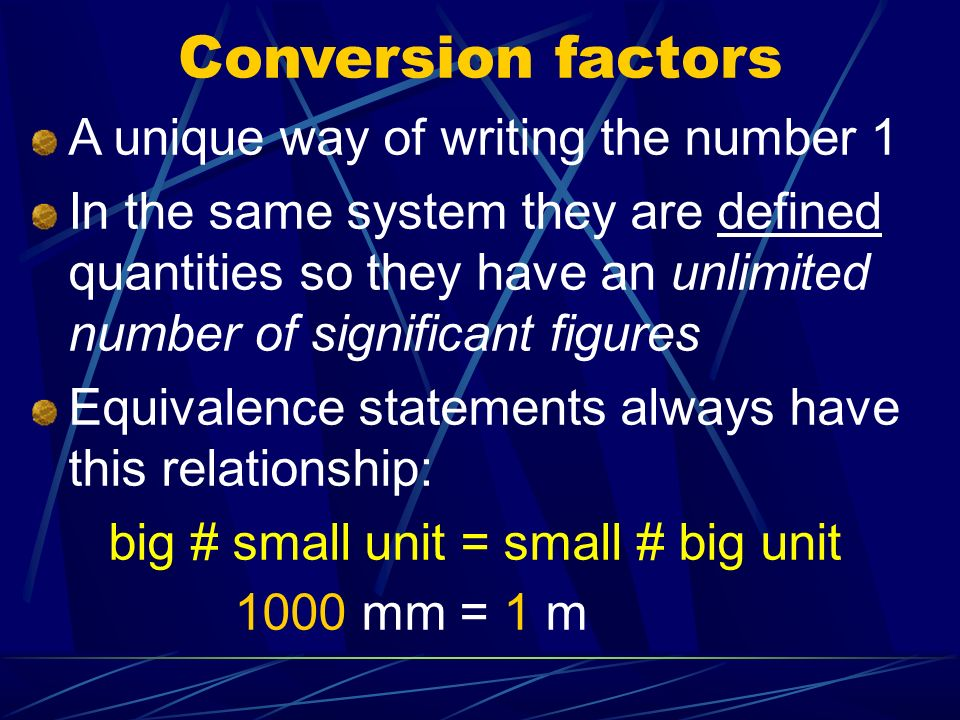 Conversion factors A unique way of writing the number 1
