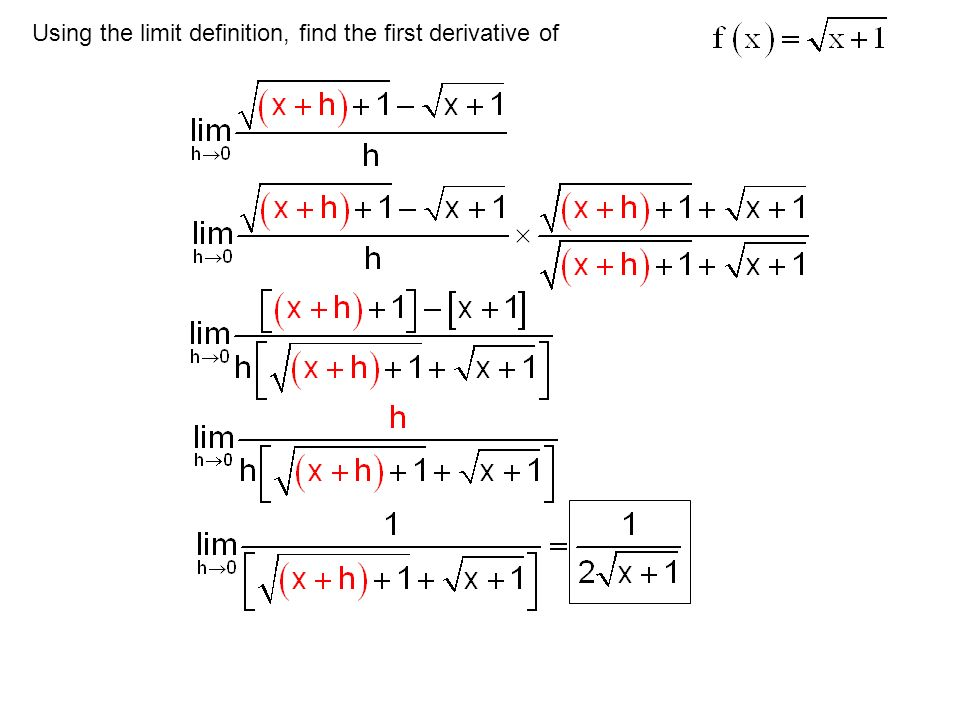 Using the limit definition, find the first derivative of
