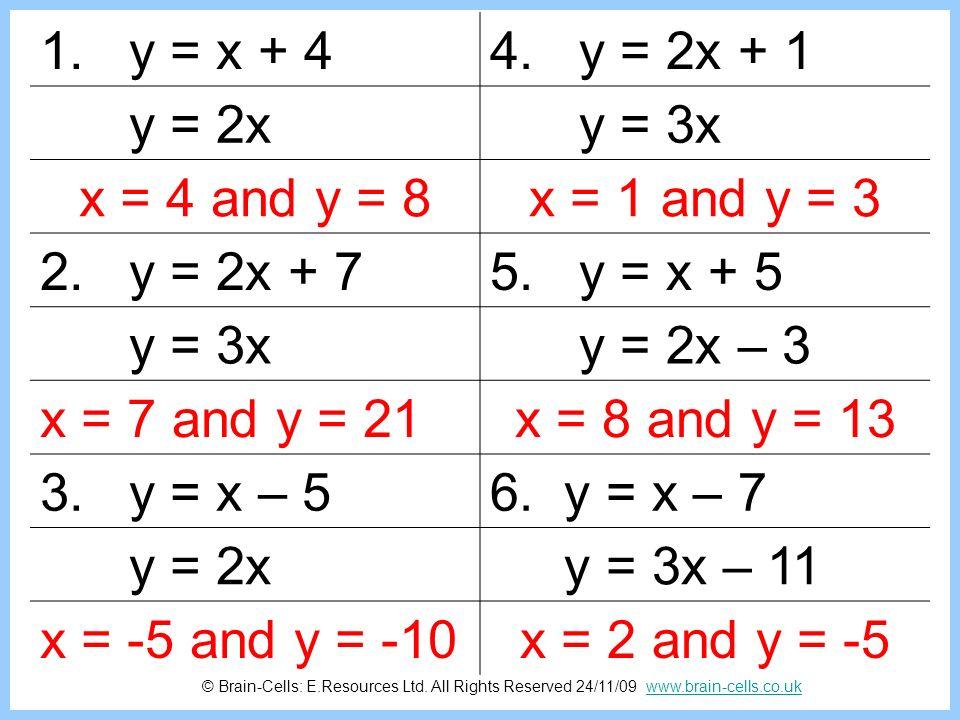 1. y = x + 4 4. y = 2x + 1 y = 2x y = 3x x = 4 and y = 8