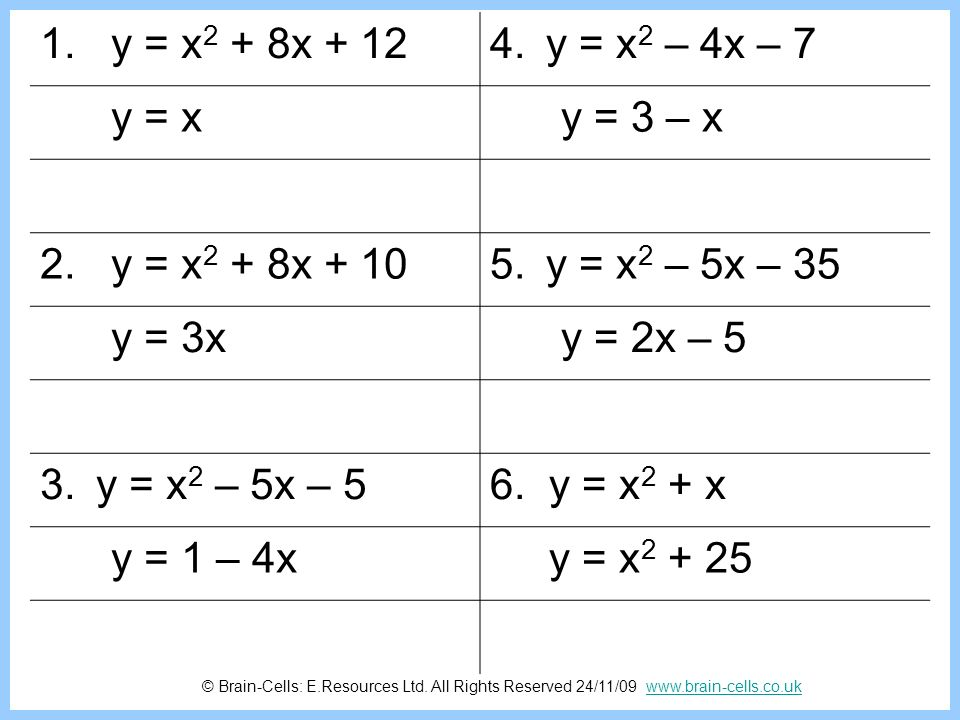 1. y = x2 + 8x + 12 y = x2 – 4x – 7. y = x. y = 3 – x. 2. y = x2 + 8x + 10. y = x2 – 5x – 35.