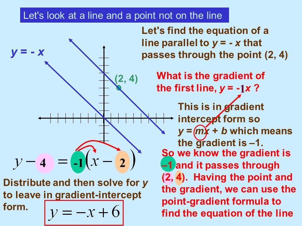 4 -1 2 y = - x 1 Let s look at a line and a point not on the line