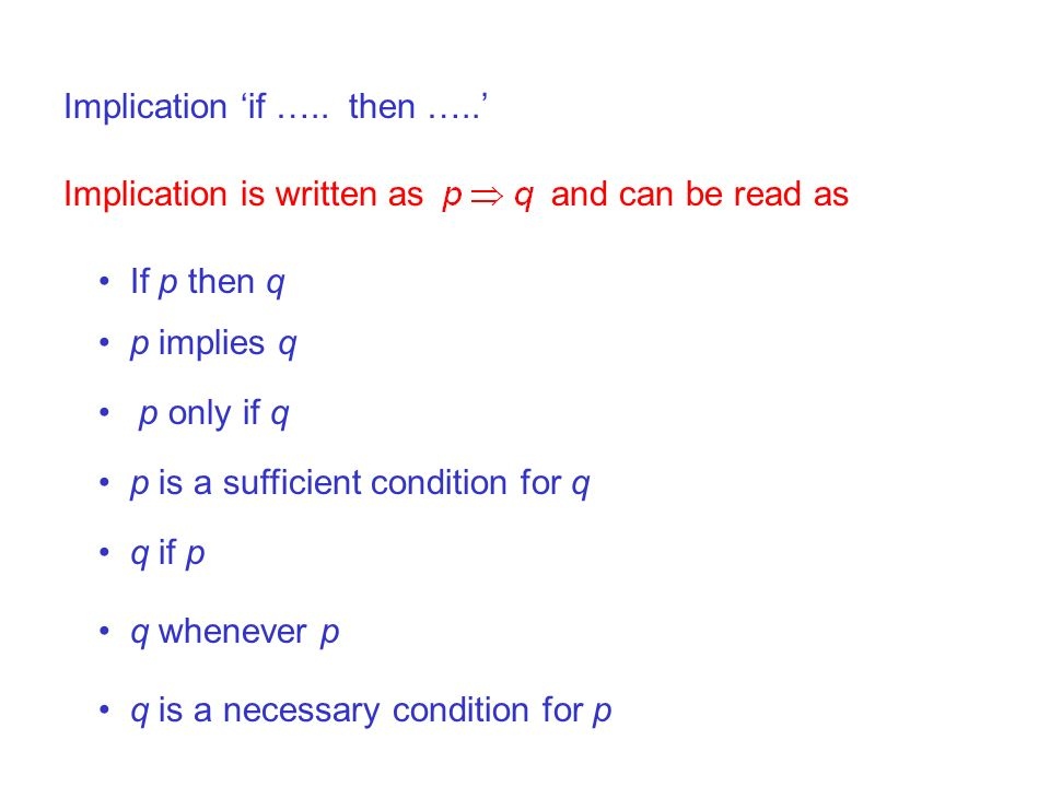 Implication 'if ….. then …..'