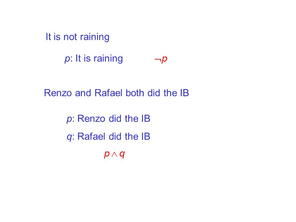 It is not raining p: It is raining. Renzo and Rafael both did the IB.