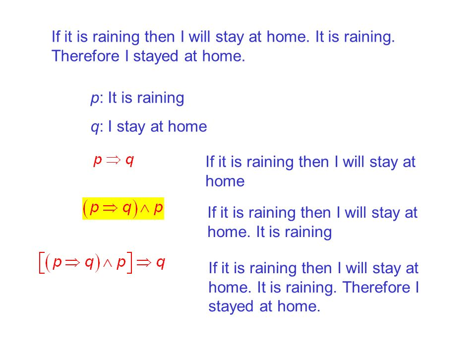 If it is raining then I will stay at home. It is raining
