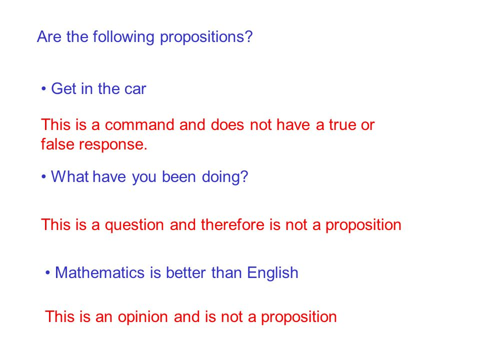 Are the following propositions