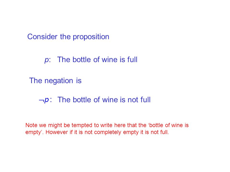 Consider the proposition