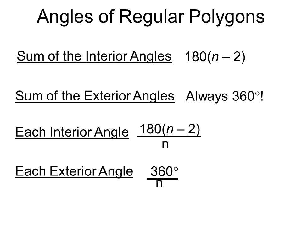 Interior Angles Of A Regular Polygon Formula