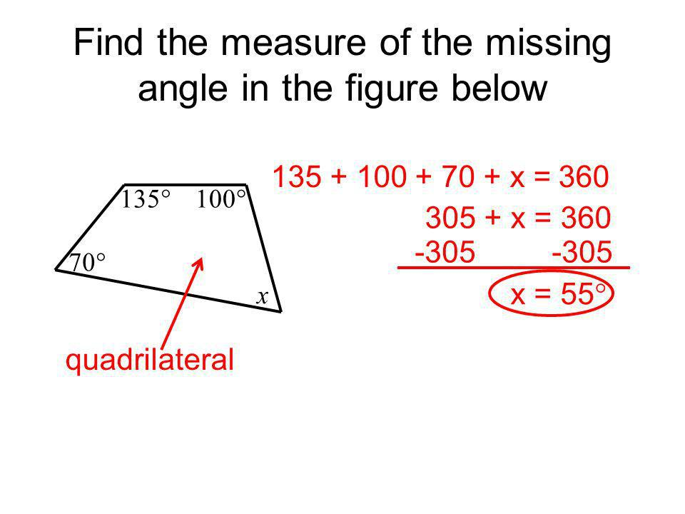 Find the measure of the missing angle in the figure below
