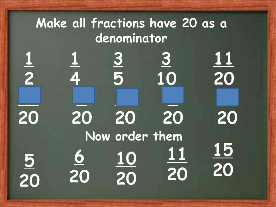 Make all fractions have 20 as a denominator