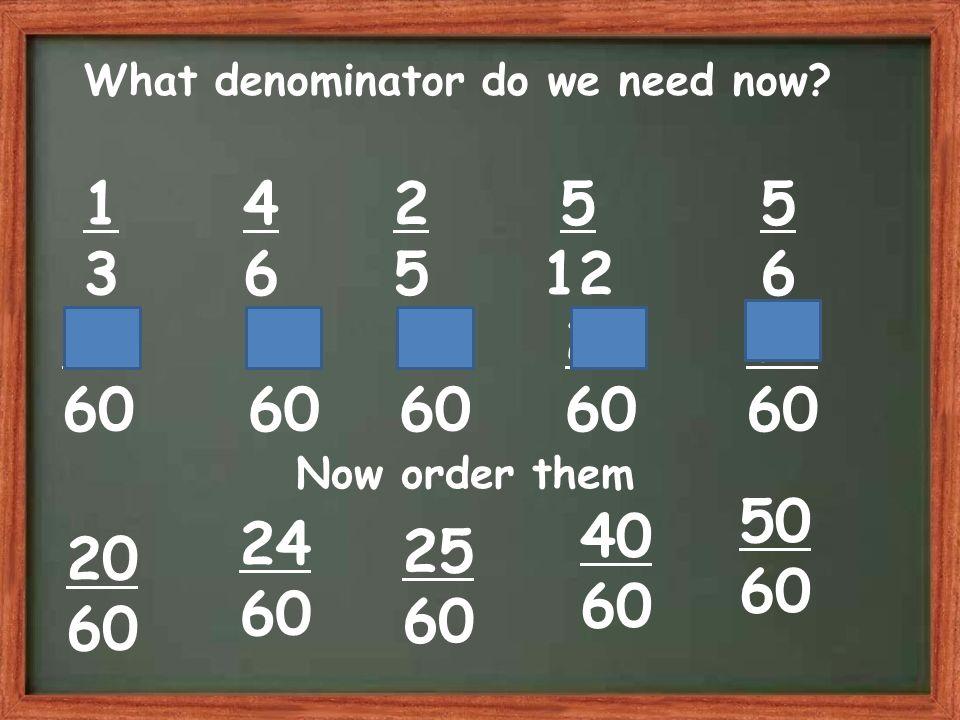 What denominator do we need now