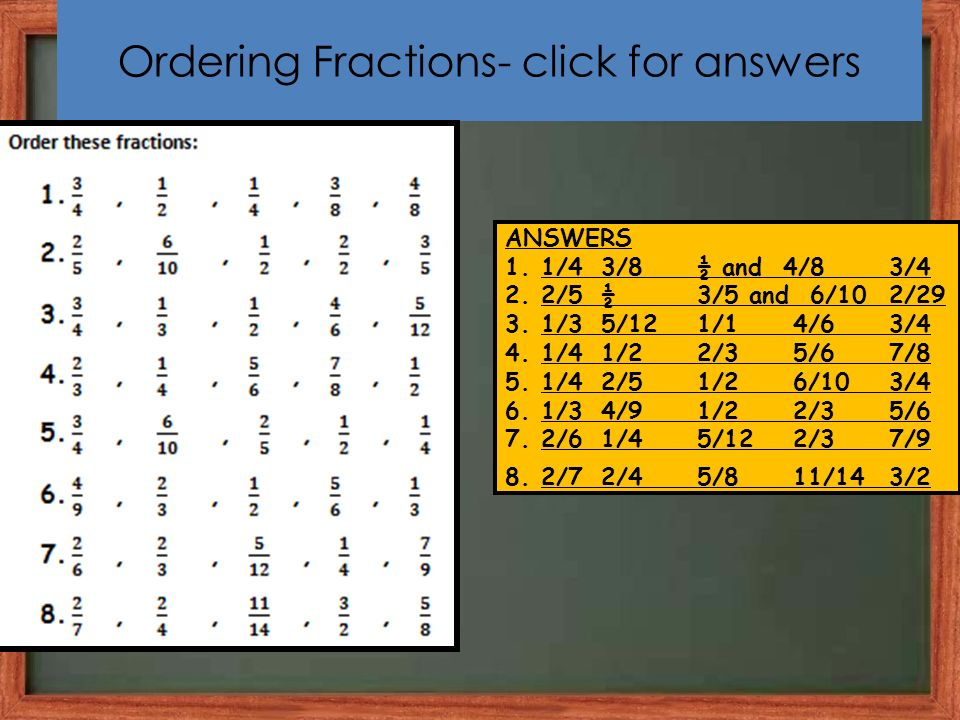 Ordering Fractions- click for answers