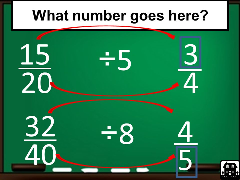 What number goes here 15 3 ÷5 20 4 32 4 ÷8 40 5