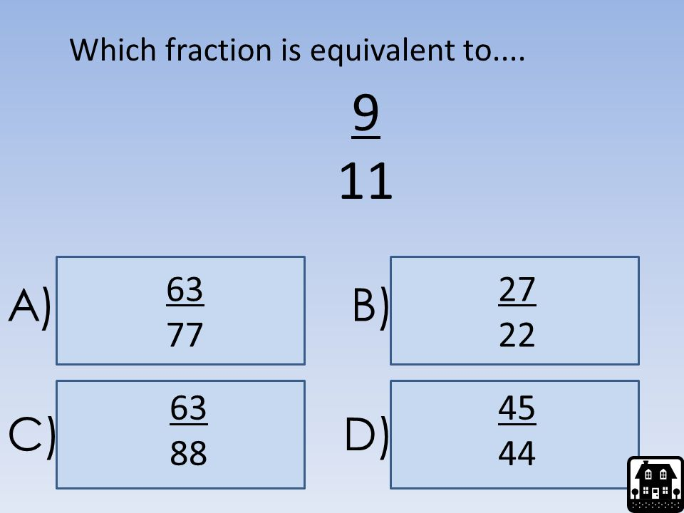 Which fraction is equivalent to....