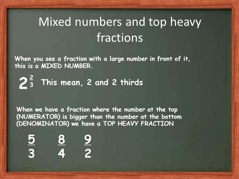 Mixed numbers and top heavy fractions