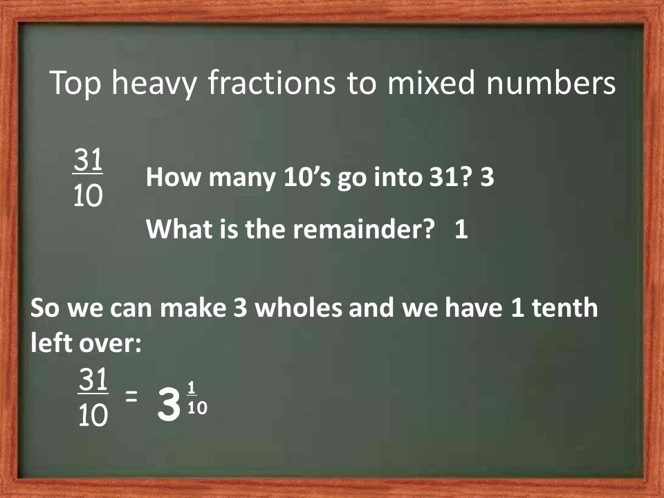 Top heavy fractions to mixed numbers