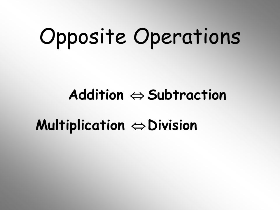 Opposite Operations Addition  Subtraction Multiplication  Division
