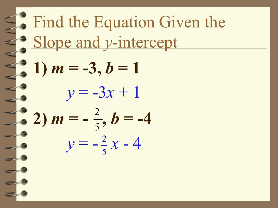 Find the Equation Given the Slope and y-intercept