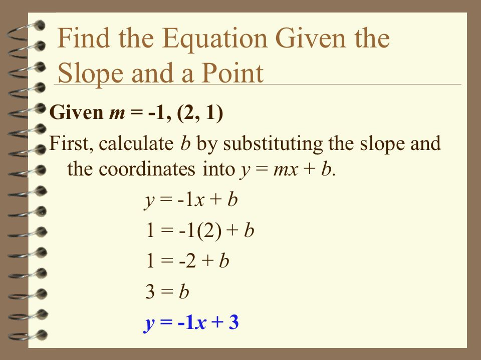 Find the Equation Given the Slope and a Point