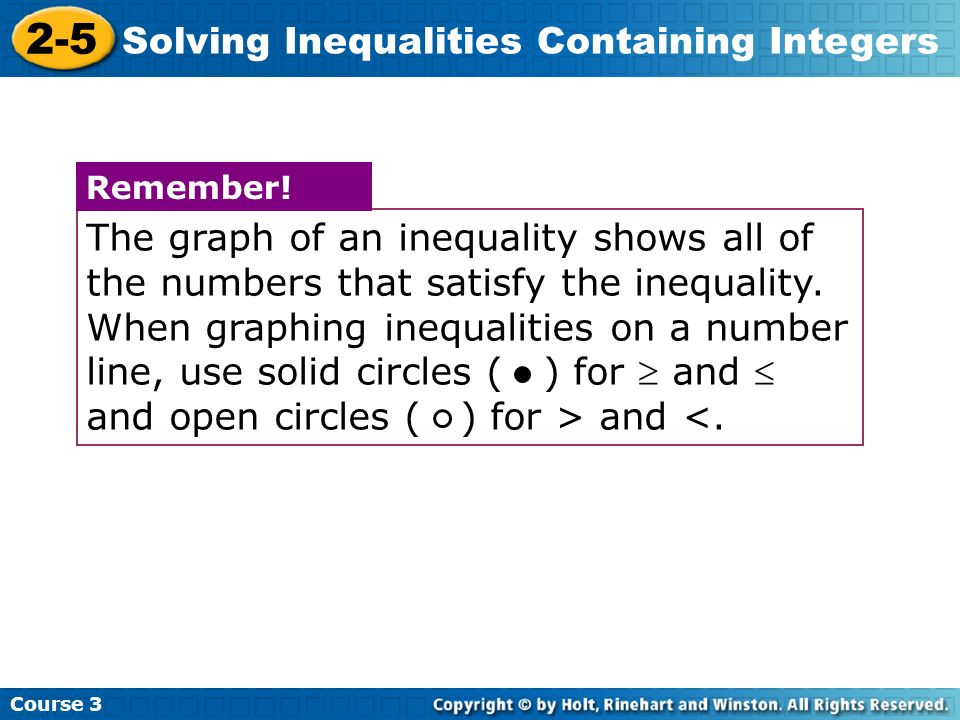 Drawing Using Inequality Number Lines : Lesson presentation solving inequalities containing