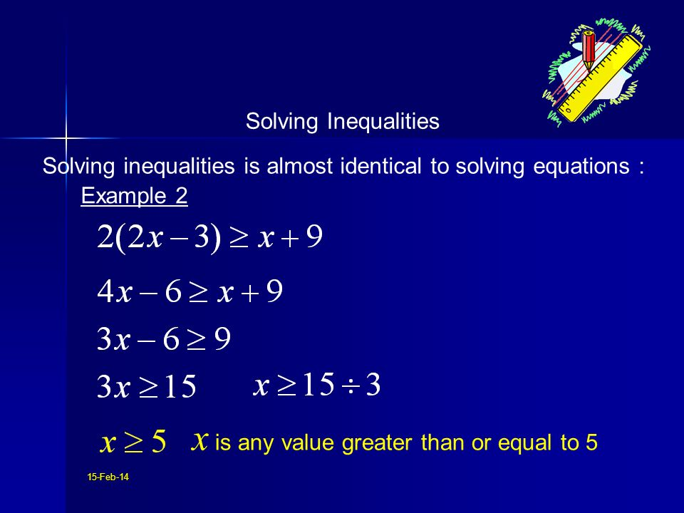 Solving inequalities is almost identical to solving equations :