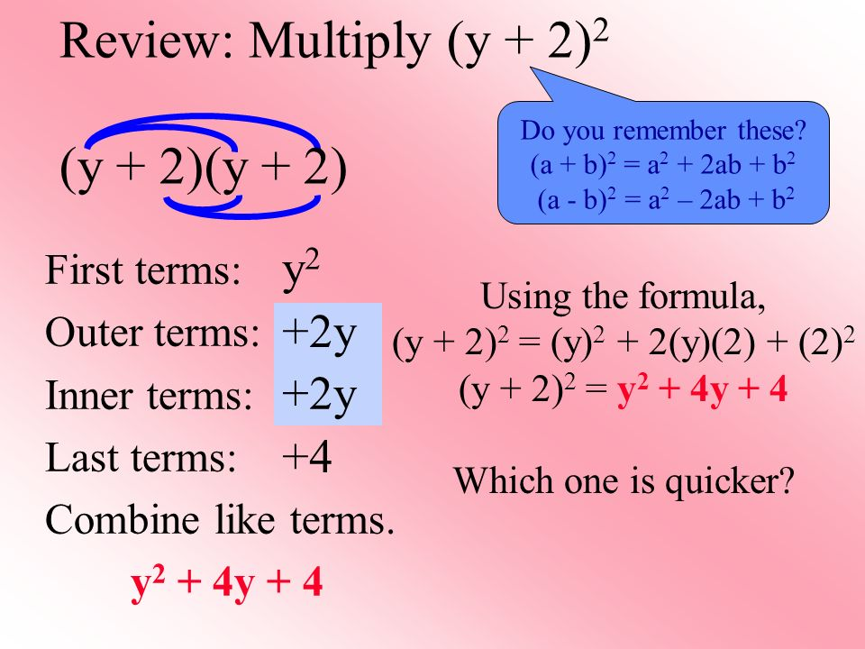 Review: Multiply (y + 2)2 (y + 2)(y + 2)