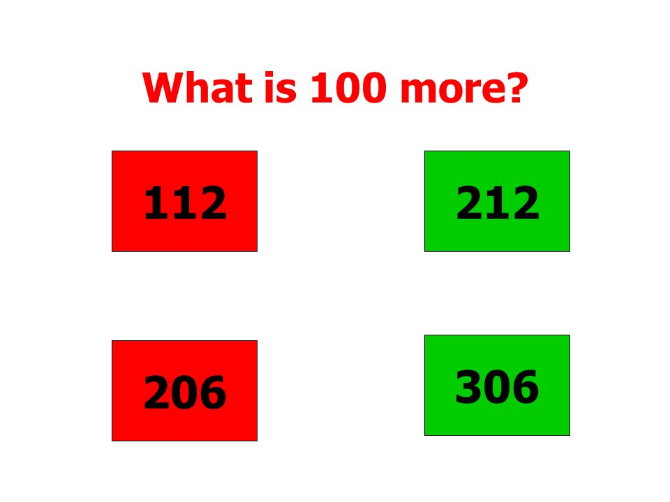 What is 100 more 112 212 306 206