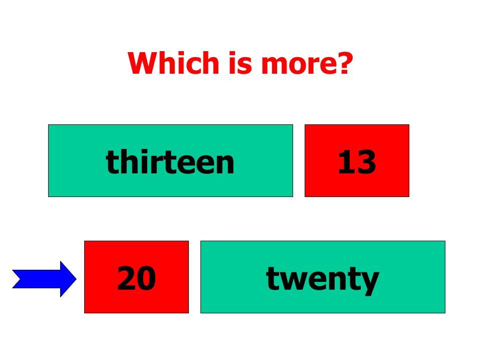 Which is more thirteen 13 20 20 twenty