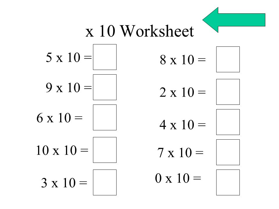 x 10 Worksheet 5 x 10 = 8 x 10 = 9 x 10 = 2 x 10 = 6 x 10 = 4 x 10 =